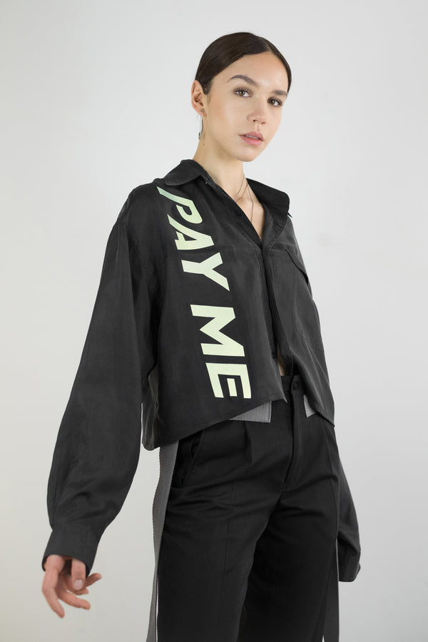 Vintage Reworked Reflective 'PAY ME' Silk Shirt - The Black Market