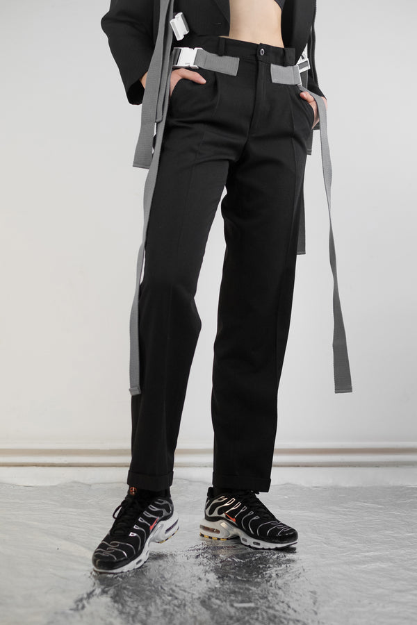Vintage Reworked Strap Buckle Work Trousers - The Black Market