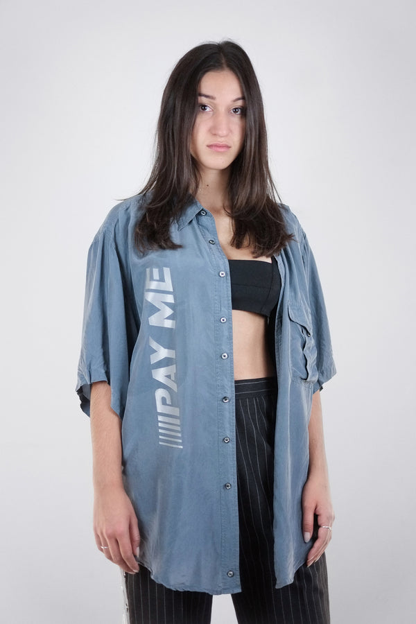 Vintage Reworked Reflective 'PAY ME' Grey Silk Shirt - The Black Market