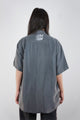Vintage Reworked Reflective 'PAY ME' Grey Silk Shirt
