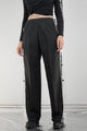 Vintage Reworked Grey Pinstripe Poppers Trousers