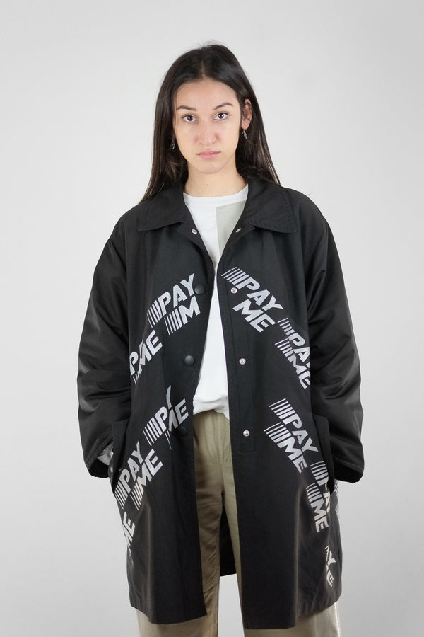 Vintage Reworked Reflective Pay Me Raincoat - The Black Market