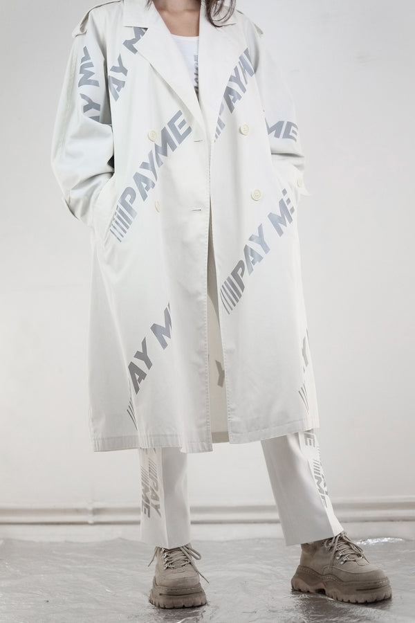 Vintage Reworked Reflective White Pay Me Trench Coat