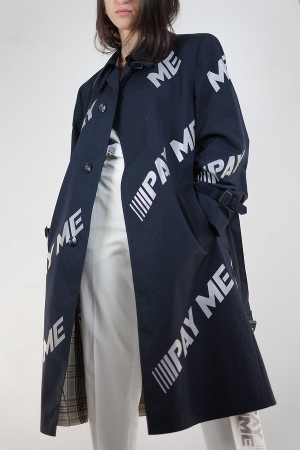Vintage Reworked Reflective Navy Pay Me Trench Coat - The Black Market