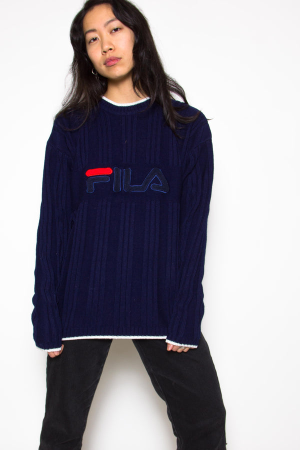 Vintage 80s Fila Navy Jumper Sweater - The Black Market