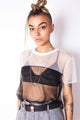 Vintage Reworked Y2K Black/ White Mesh Top