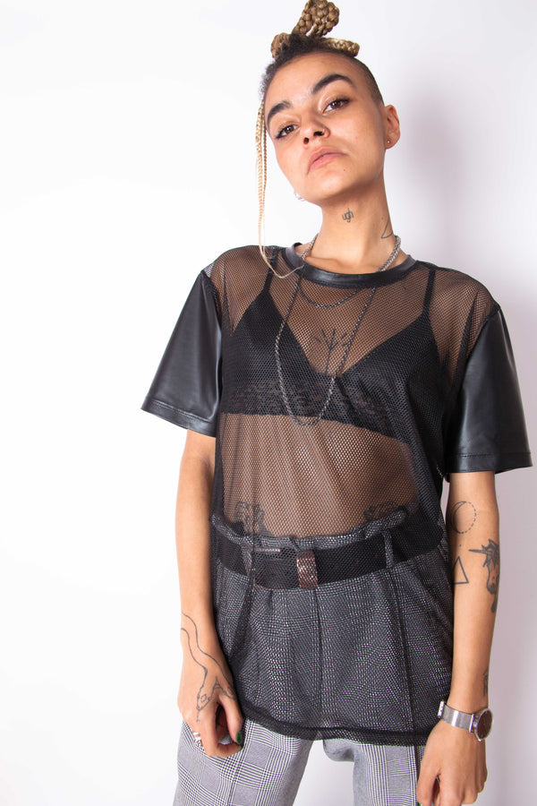 Vintage Reworked Mesh & Faux Leather T-Shirt - The Black Market