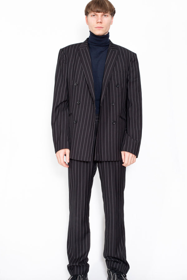 Vintage 80s Pinstripe Blazer & Trousers Suit - The Black Market