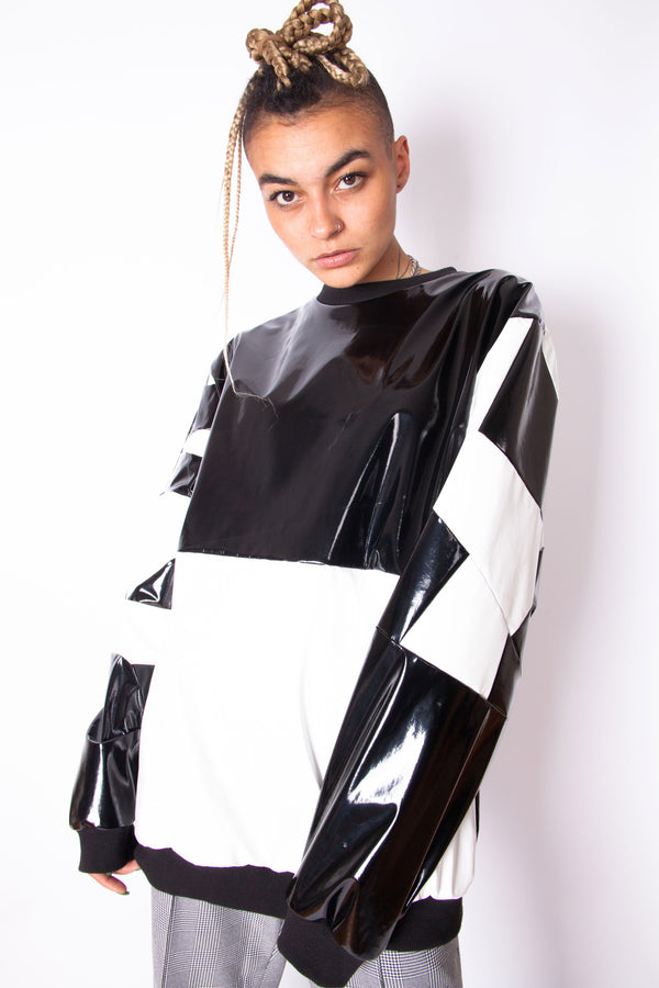 Vintage Reworked PVC Patchwork Jumper - The Black Market