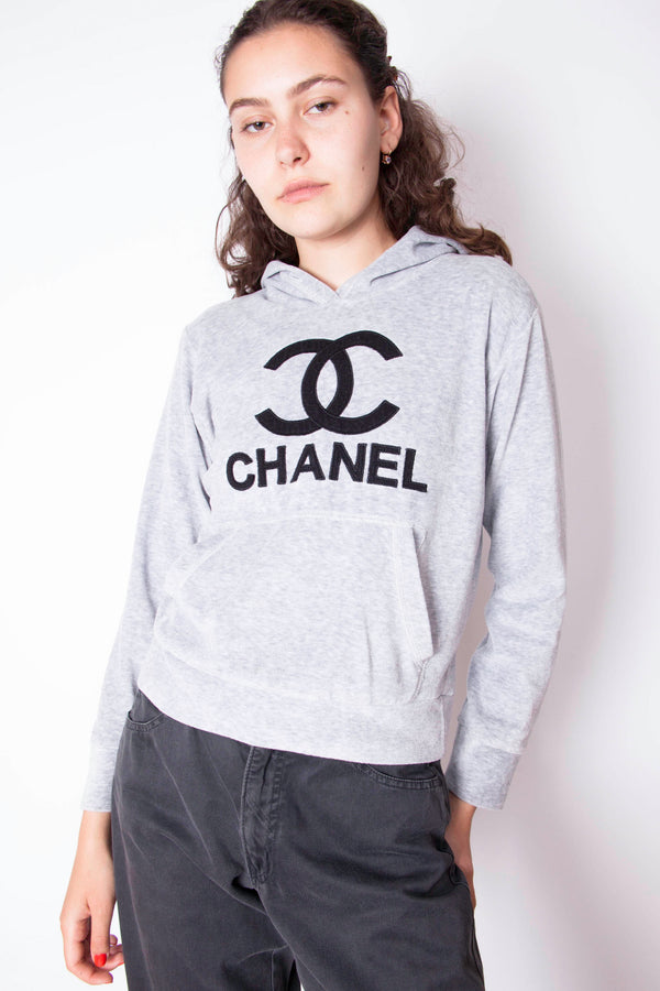 Vintage 80s Chanel Big Logo Towel Hoodie - The Black Market