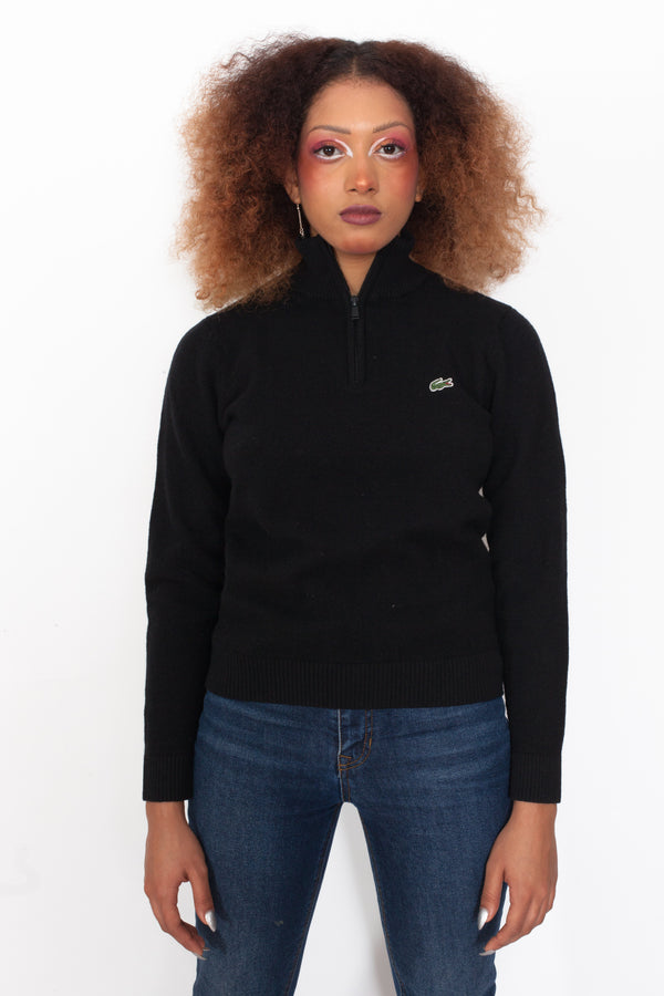 Vintage 90s Lacoste 1/4 Zip Wool Jumper - The Black Market