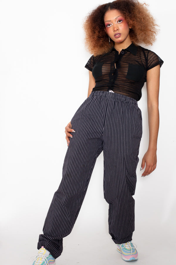 Vintage 90s Striped Work Trousers - The Black Market