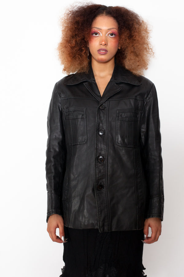 Vintage 70s Blazer Leather Jacket - The Black Market