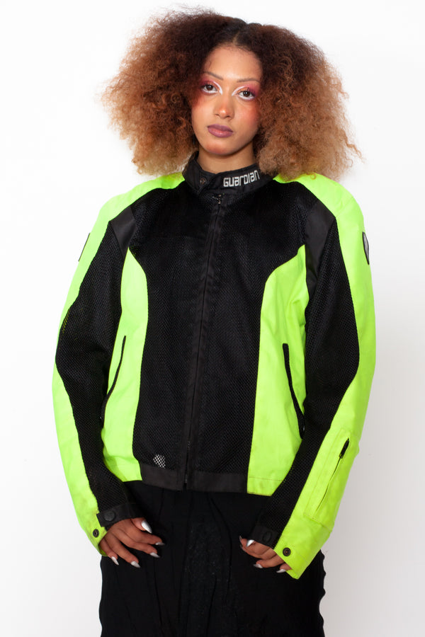 Vintage 90s Neon Green Motorcycle Jacket - The Black Market