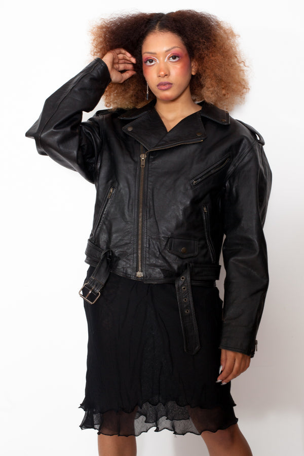 Vintage 80s Motorcycle Leather Jacket - The Black Market