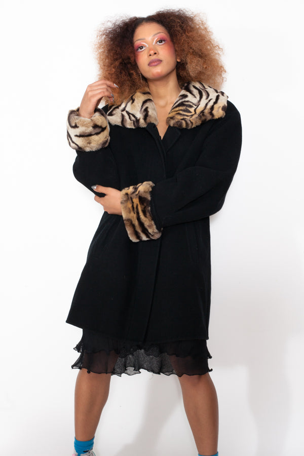 Vintage 90s Wool Coat with Tiger Print Collar
