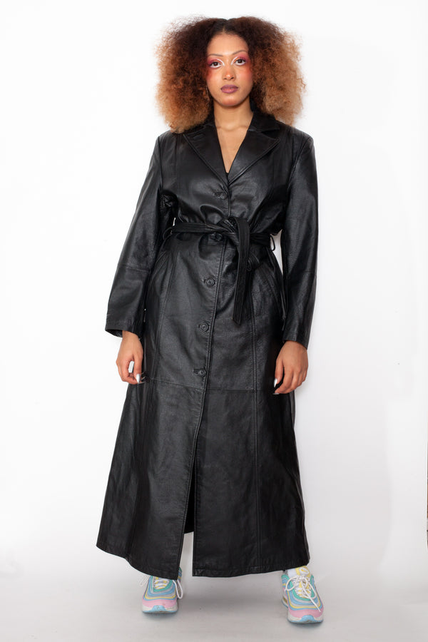 Vintage 70s Leather Trench Coat - The Black Market