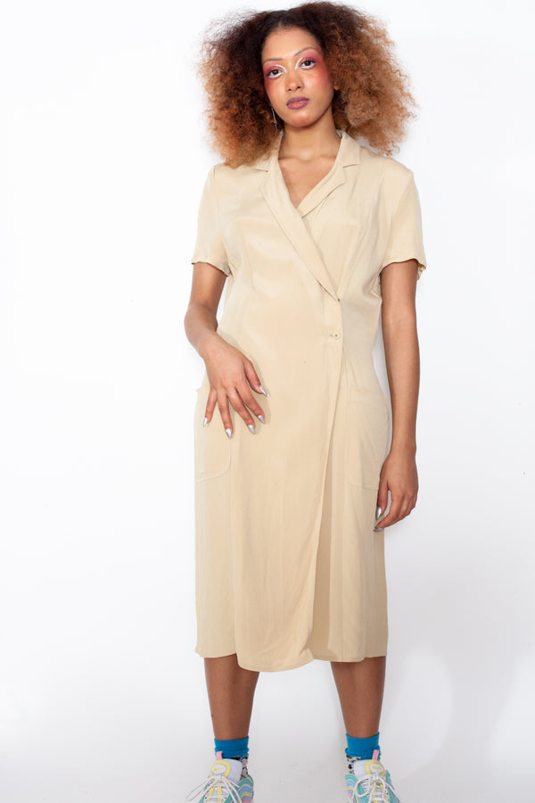 Vintage 90s Valentino Beige Dress - The Black Market