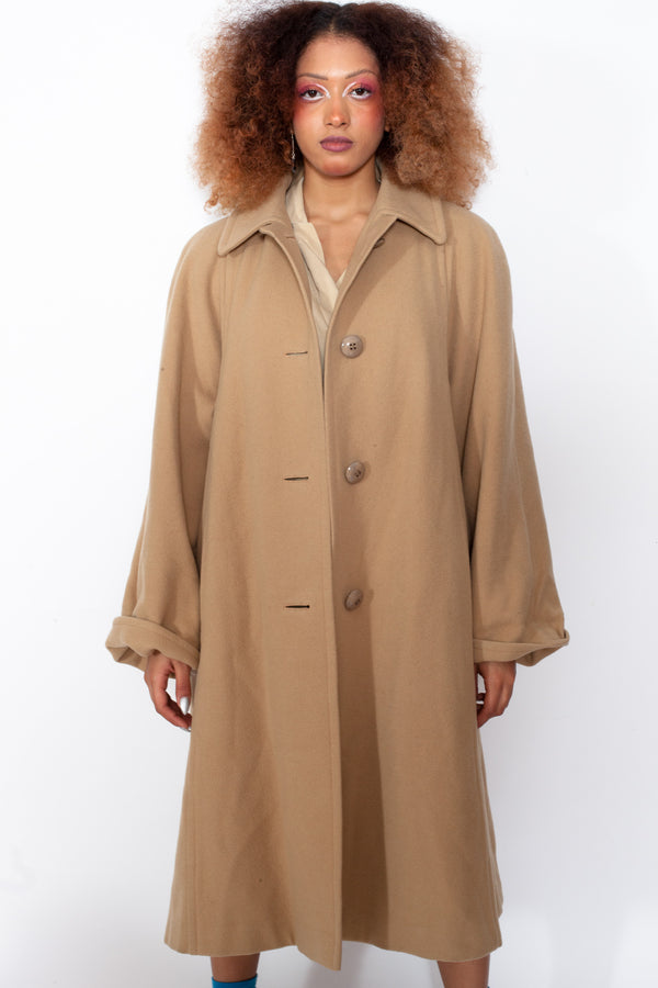 Vintage 80s Aquascutum Beige Wool Coat - The Black Market