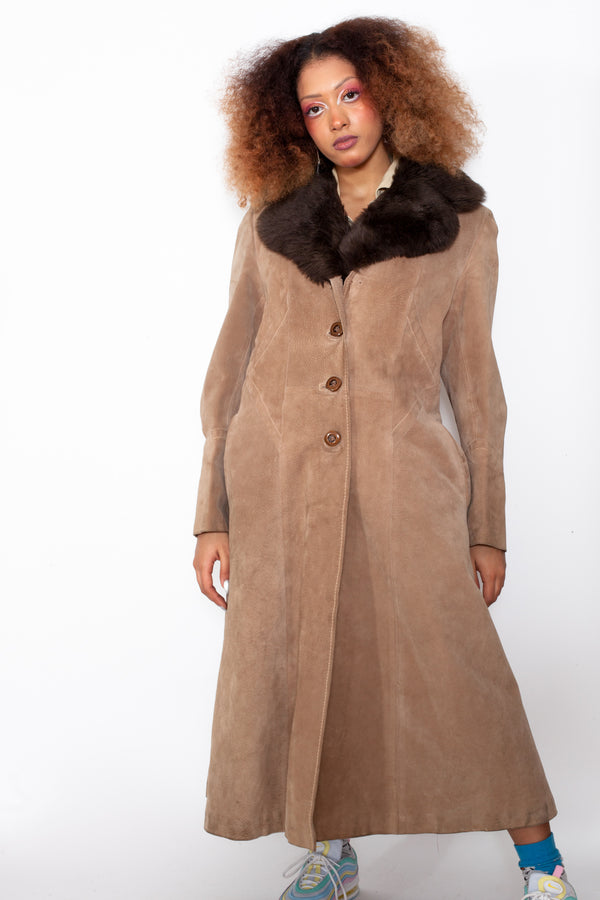 Vintage 80s Suede Leather Coat w/ Faux Fur Collar - The Black Market