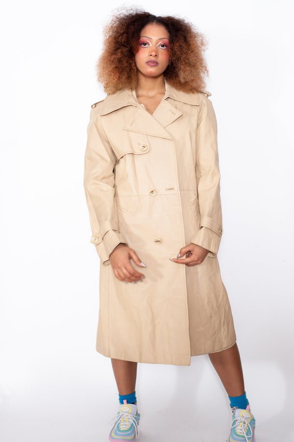 Vintage 80s Beige Leather Trench Coat - The Black Market