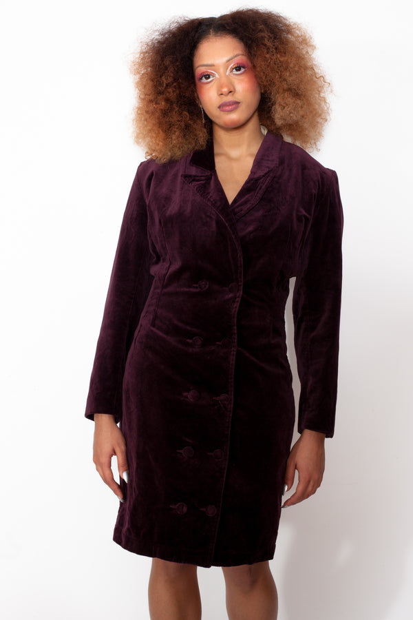 Vintage 80s Purple Velvet Dress - The Black Market