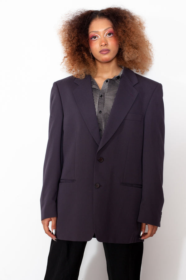 Vintage 80s Grey Blazer Jacket - The Black Market