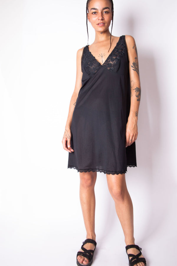 Vintage 90s Y2K Black Lace Slip Dress - The Black Market