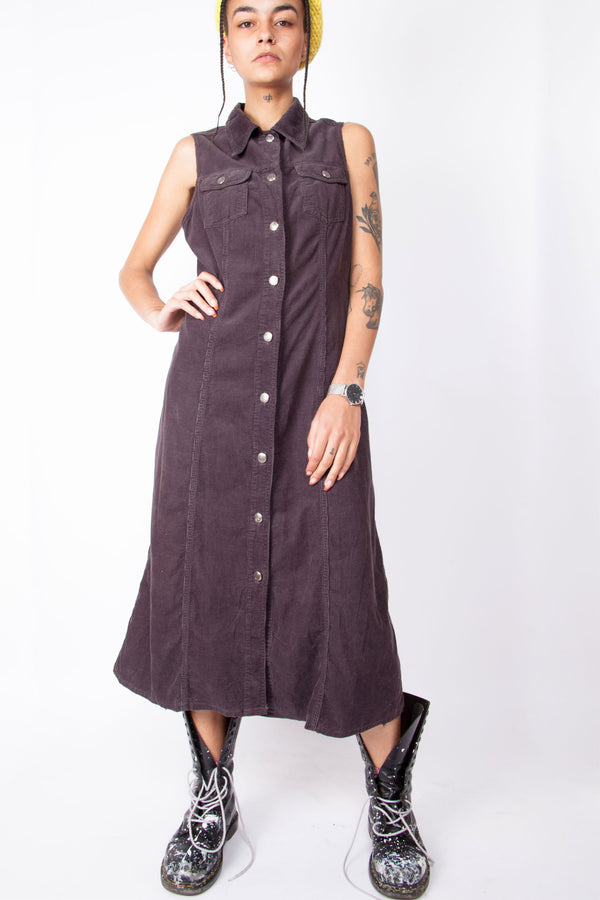 Vintage 90s Y2K Corduroy Maxi Dress - The Black Market