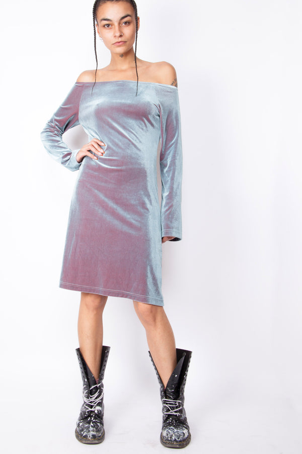 Vintage Y2K Onyx Hologram Velvet Dress - The Black Market