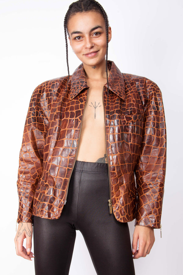 Vintage 80s Crocodile Print Leather Jacket - The Black Market