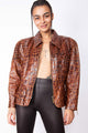 Vintage 80s Crocodile Print Leather Jacket