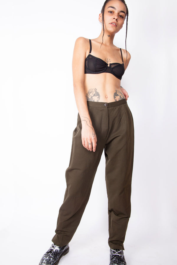 Vintage 80s Sage Green Work Trousers - The Black Market