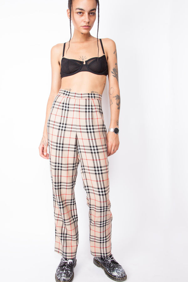 Vintage 90s Burberry-like Check Trousers - The Black Market