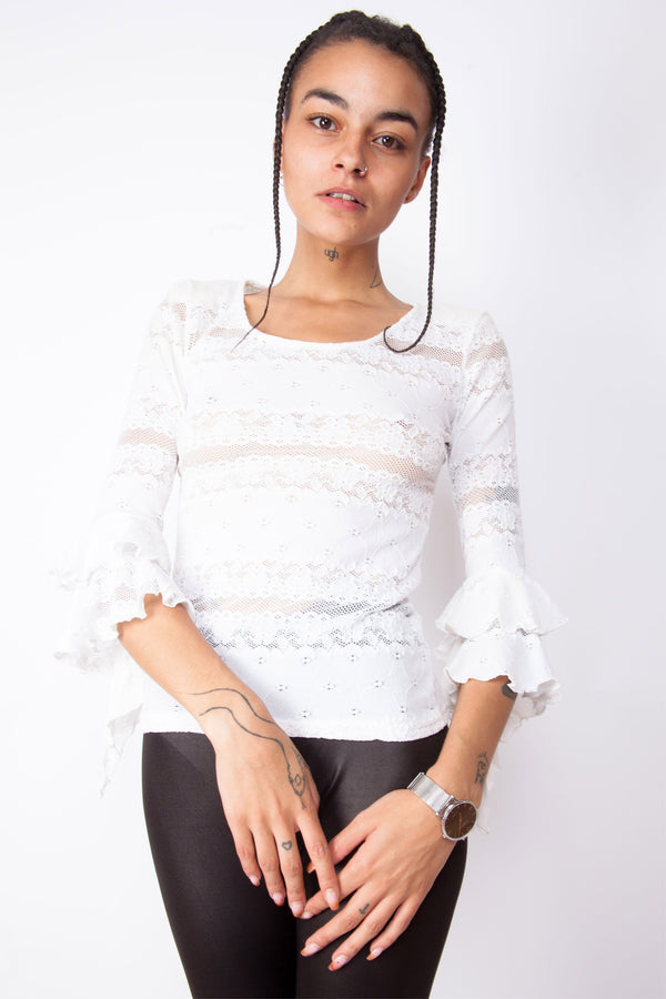 Vintage 90s White Ruffles Top - The Black Market