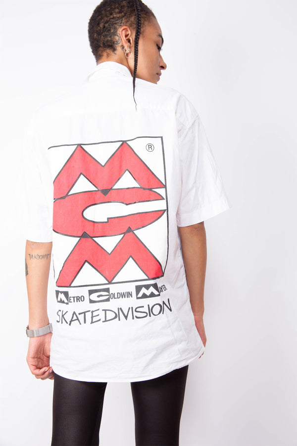 Vintage 90s White Skate Button-Up Shirt - The Black Market