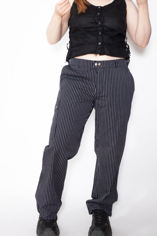 Vintage 90s Pinstriped Work Trousers - The Black Market