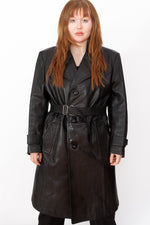 Vintage 80s Leather Trench Coat