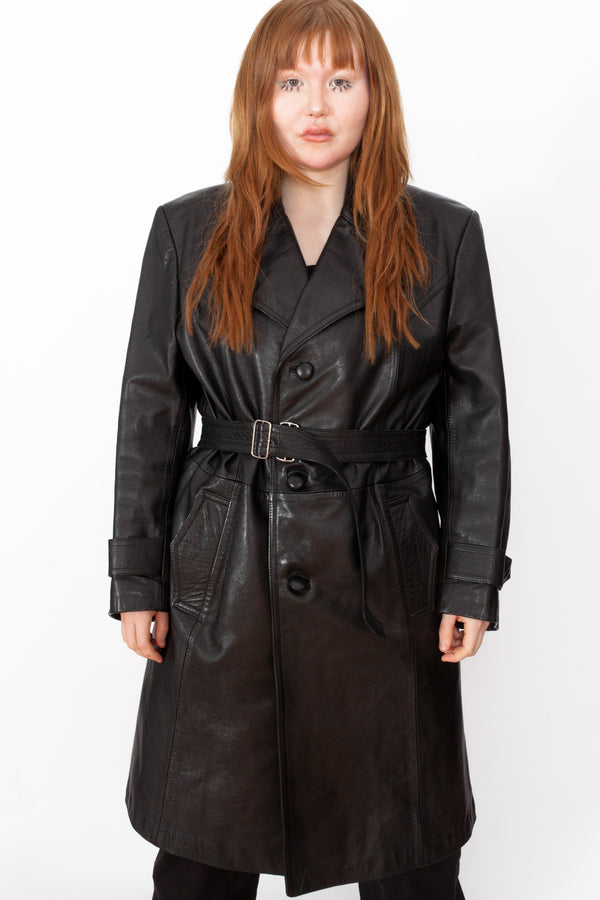 Vintage 80s Leather Trench Coat - The Black Market