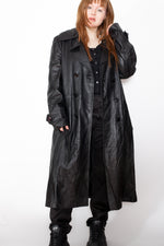 Vintage 80s Black Leather Trench Coat