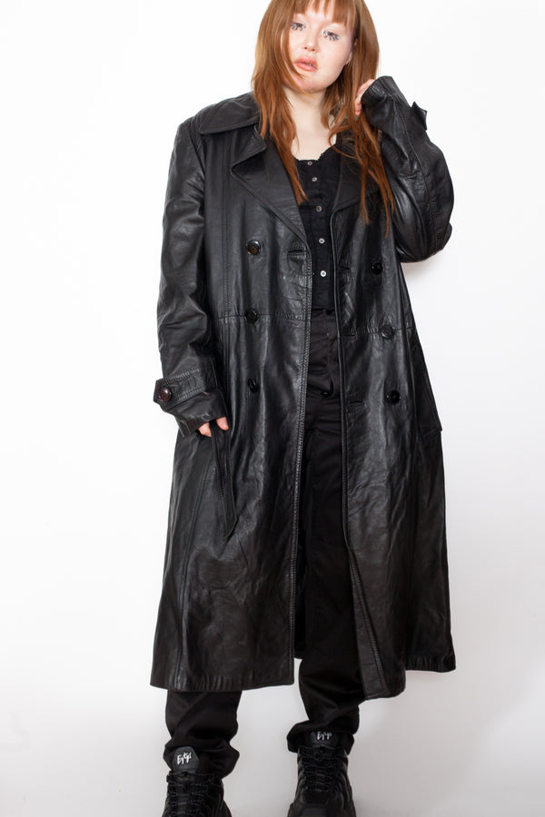 Vintage 80s Black Leather Trench Coat - The Black Market