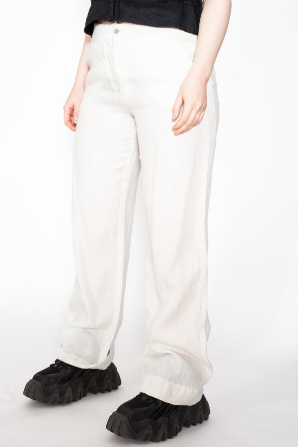 Vintage 90s Linen Trousers - The Black Market