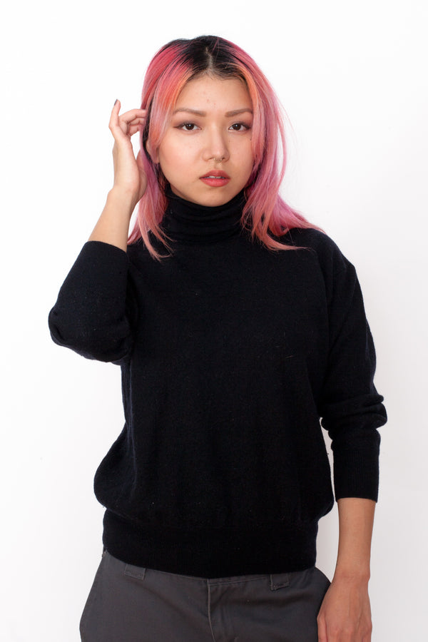 Vintage 90s Black Cashmere Wool Turtleneck Jumper - The Black Market