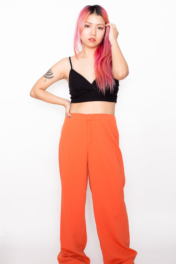 Vintage 80s Orange Work Trousers - The Black Market