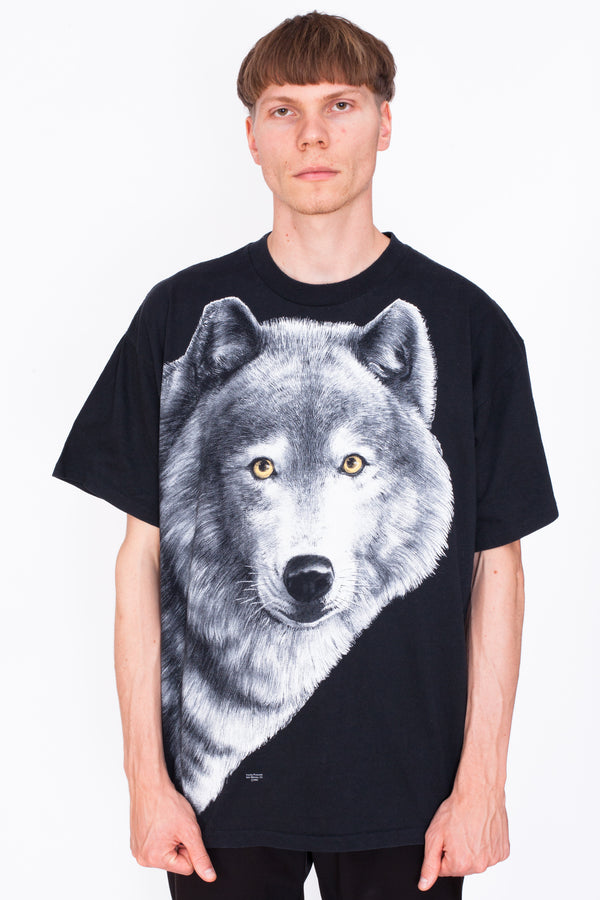 Vintage 90s Wolf Animal Print T-Shirt - The Black Market