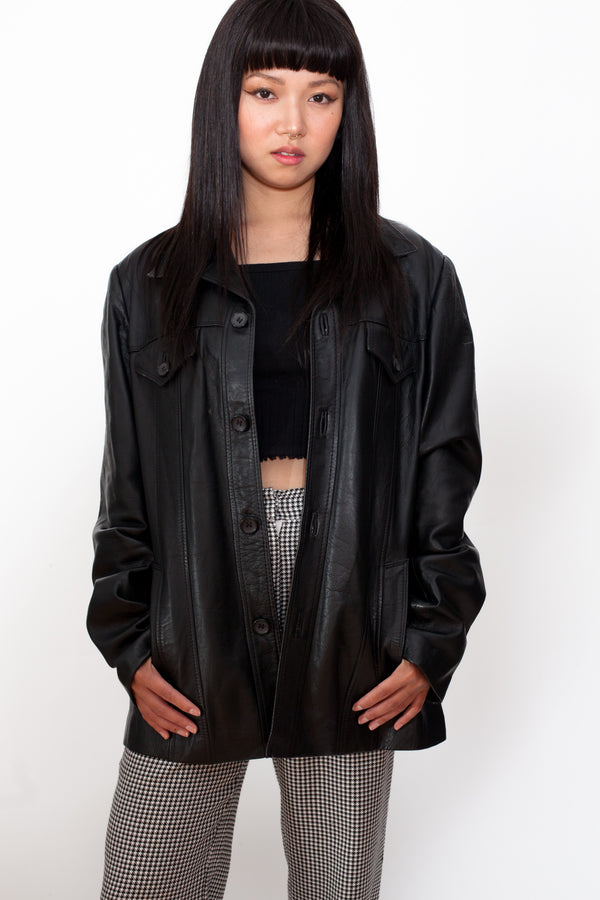 Vintage 70s Black Leather Jacket - The Black Market