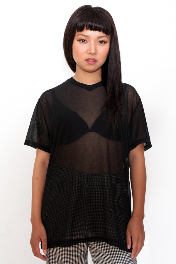 Y2K Black Mesh T-Shirt - The Black Market