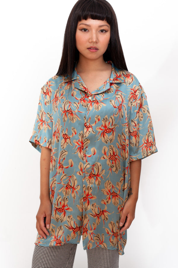 Vintage 90s Blue Floral Satin Shirt - The Black Market