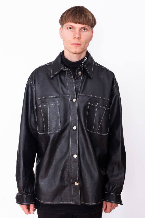 Vintage 90s Black Leather Jacket - The Black Market