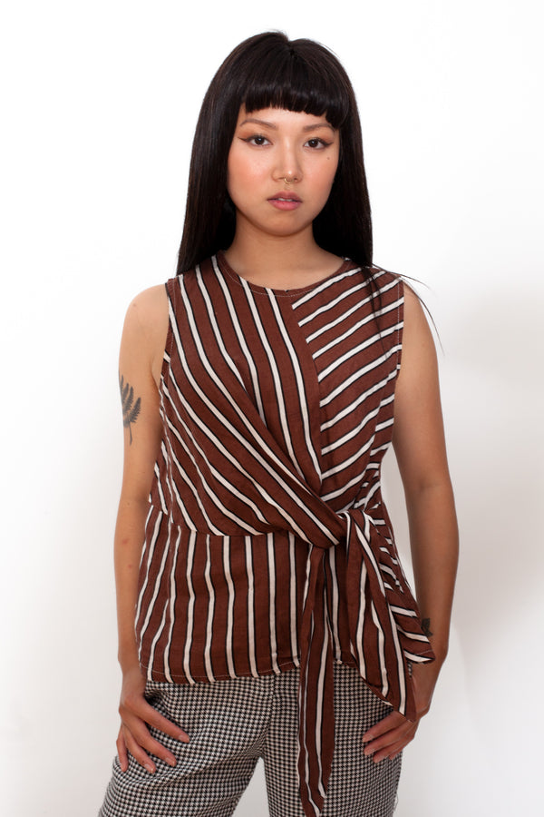 Vintage 80s Striped Linen Sleeveless Top - The Black Market